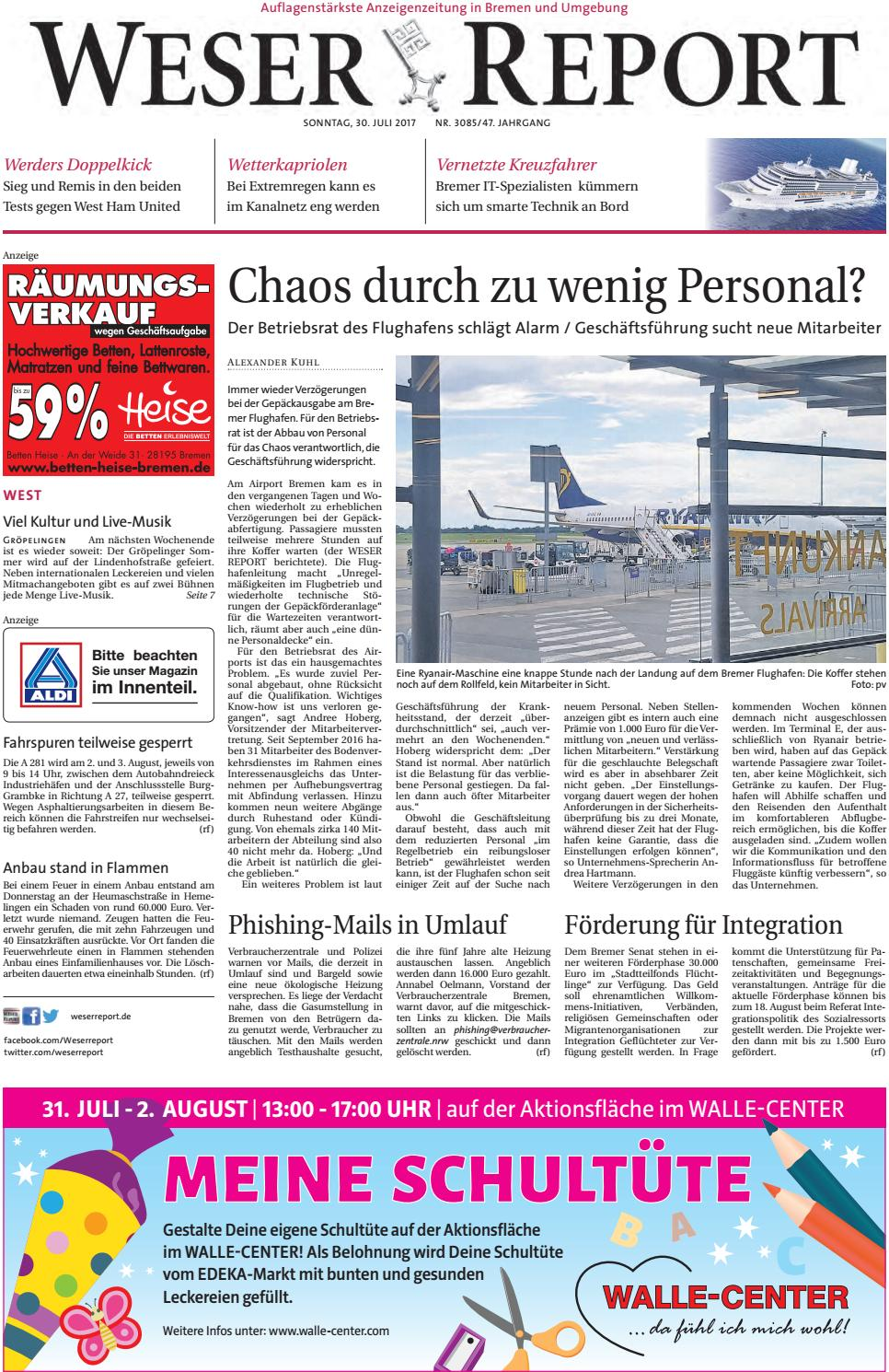 Weser Report West vom 30.07.2017 by KPS