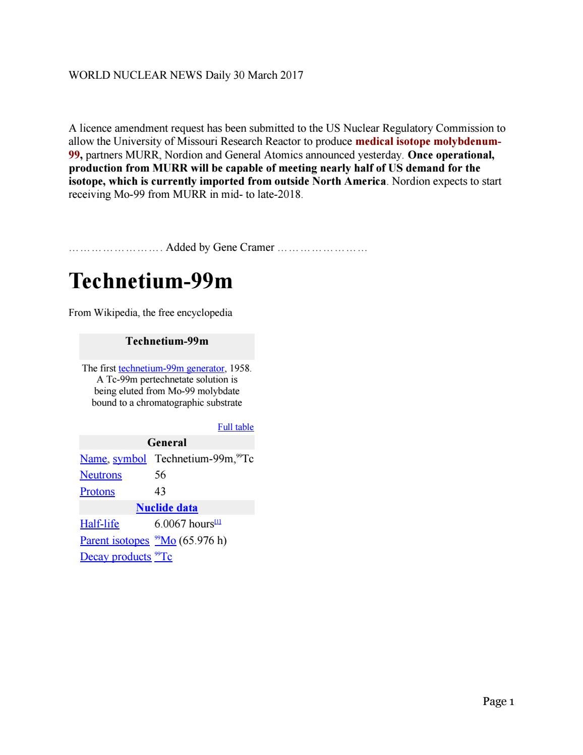 Molybdenum 99 Technetium 99m Murr World Nuclear News Gene Cramer