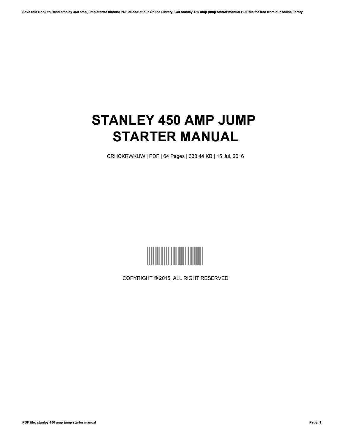Stanley 450 Amp Jump Starter Manual By Rickydolan1577 Issuu