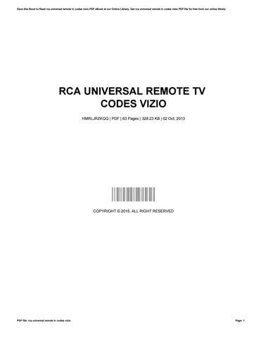 Rca Universal Remote Tv Codes Vizio By Nicholascoffey4337 Issuu