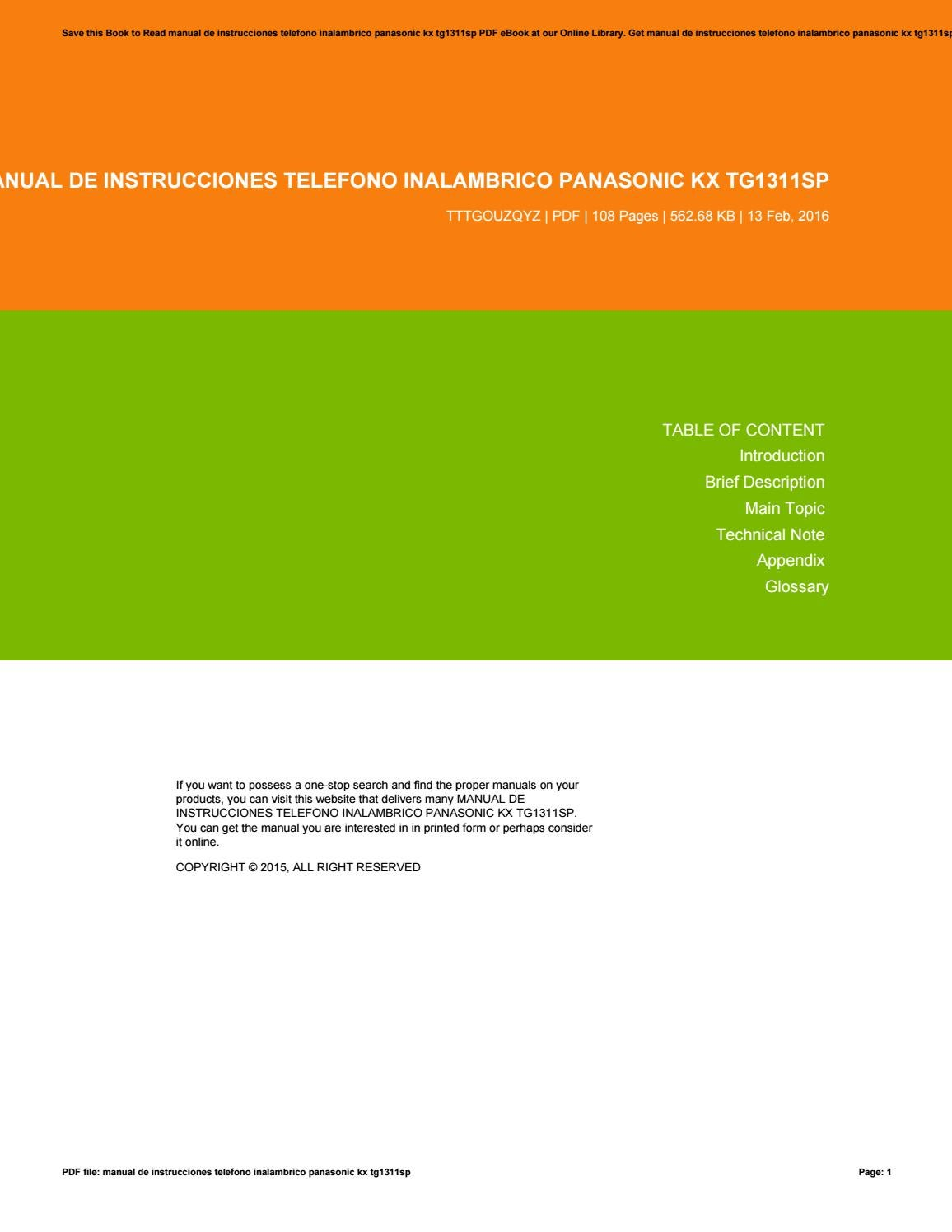 Manual de instrucciones telefono inalambrico panasonic kx tg1311sp by  KathrynPugh4897 - issuu