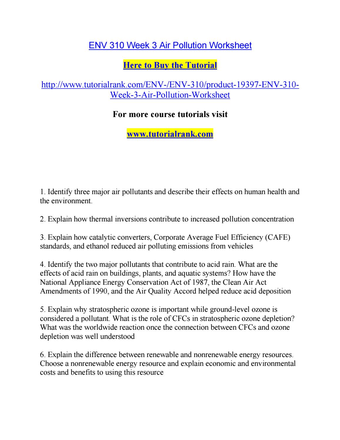 worksheet Air Pollution Worksheet env 310 week 3 air pollution worksheet by robertsonhunt8 issuu