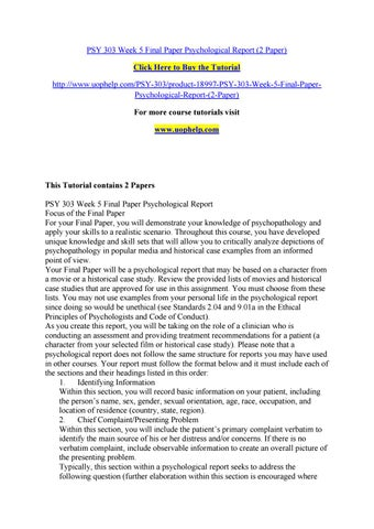 Psy 303 week 5 final paper psychological report (2 paper) by cvff ...