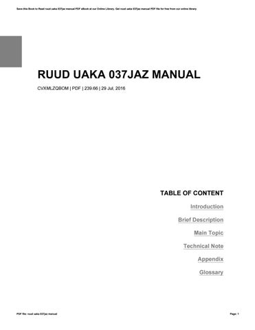 ruud uaka 037jaz manual by pattymabry1303 issuu rh issuu com