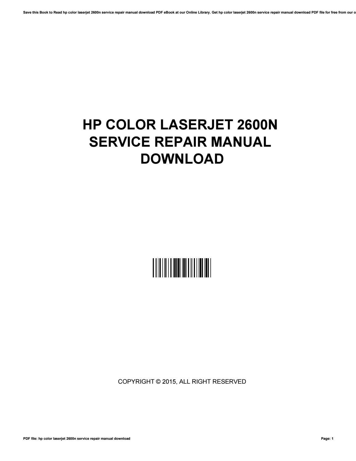 Hp color laserjet 2600n service repair manual download by AnnaSiegel3956 -  issuu