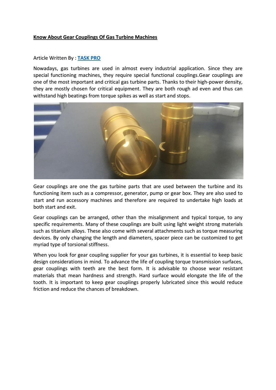 Know about gear couplings of gas turbine machines by GRIFFIN William