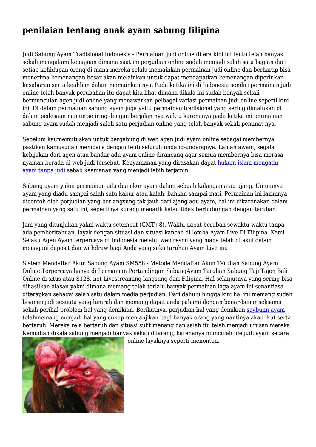 Penilaian Tentang Anak Ayam Sabung Filipina By Carl6sargent7 Issuu