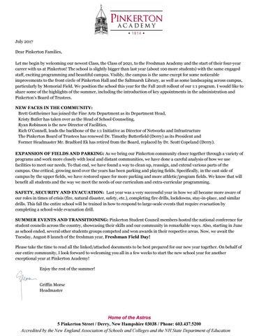 Pinkerton Academy Campus Map.Pinkerton Academy Freshman Summer Mailing 2017 By Pinkerton Academy
