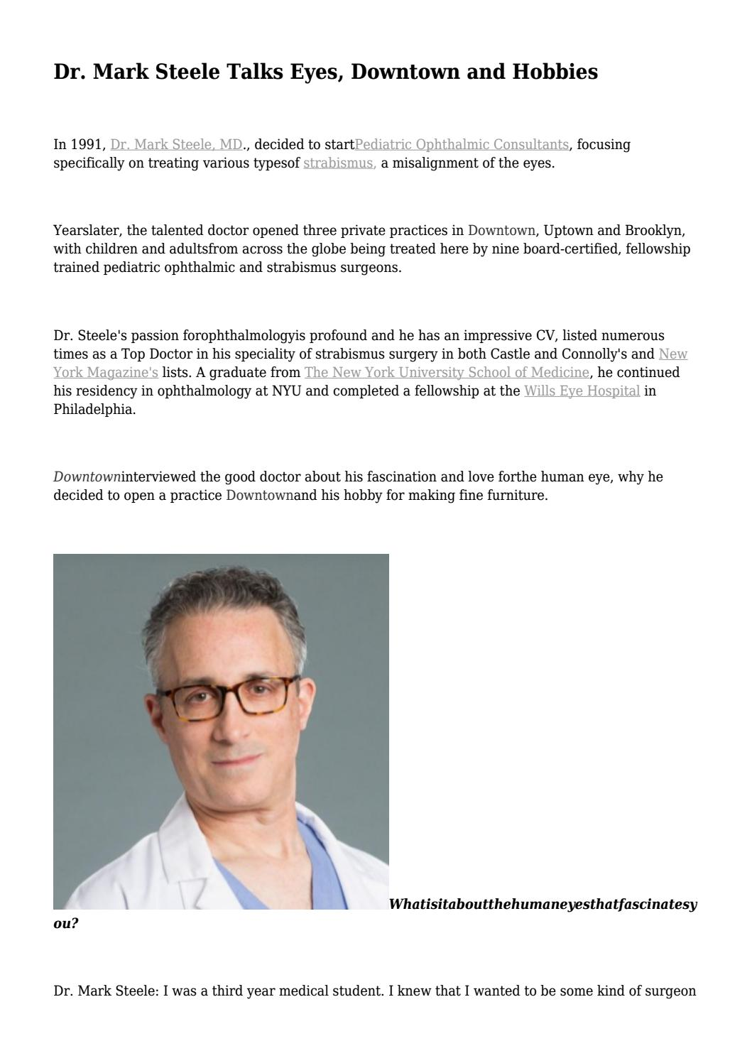 Dr  Mark Steele Talks Eyes, Downtown and Hobbies    by Jody