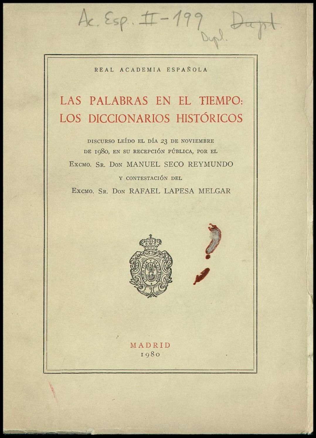 Discurso ingreso manuel seco by Guillermo Hernández O. - issuu