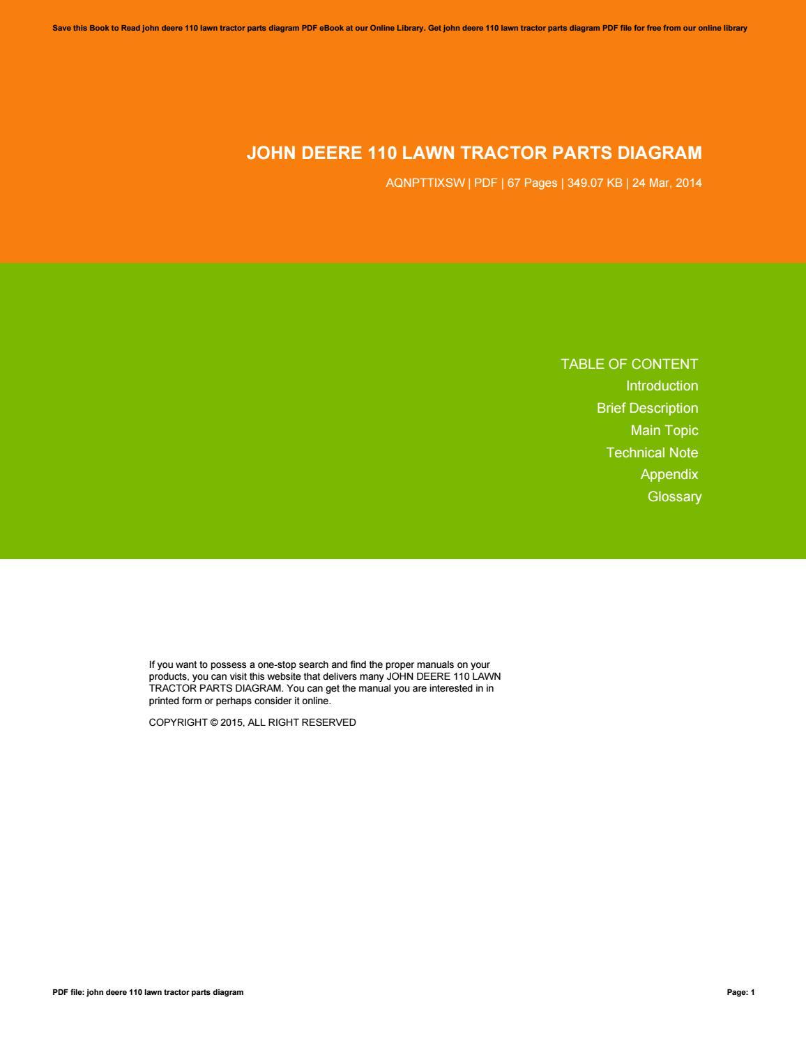 John Deere 110 Lawn Tractor Parts Diagram By