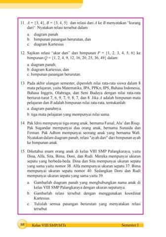 Kelas 08 smp matematika s1 siswa 2017 by pe thea issuu a 3 4 b 3 4 5 dan relasi dari a ke b menyatakan x20acx153kurang dari yatakan relasi tersebut dalam a diagram panah b himpunan ccuart Image collections