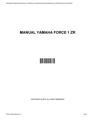 manual yamaha force 1 zr by marilynfield2795 issuu rh issuu com Yamaha SR Snowmobile Yamaha R1