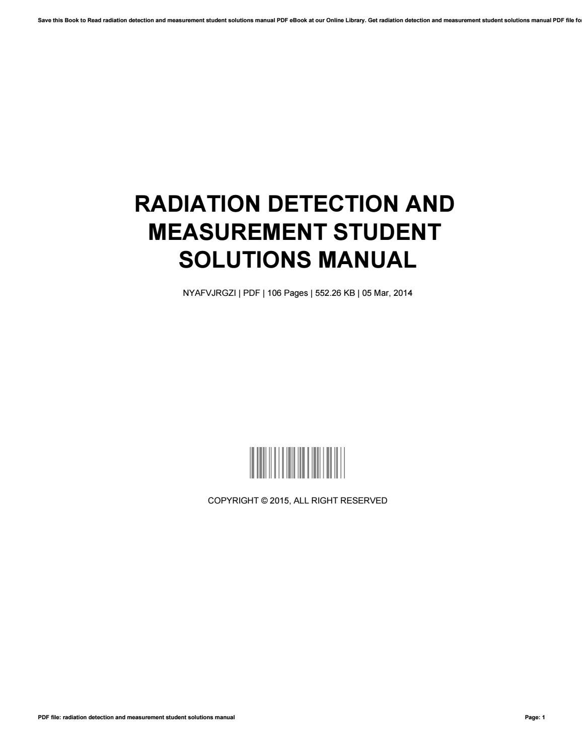 Radiation detection and measurement student solutions manual by  JarrettRobertson4447 - issuu
