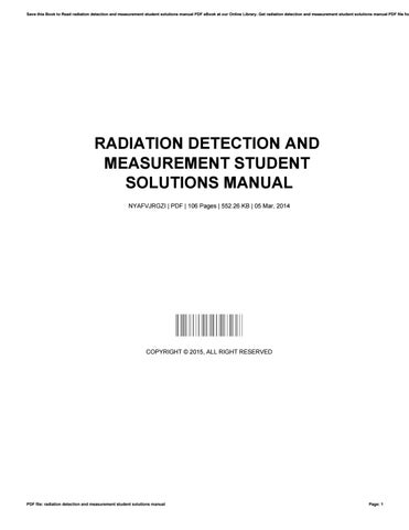 radiation detection and measurement student solutions manual by rh issuu com Bledsoe Measurements by Manual Usdoi Water Measurement Manual