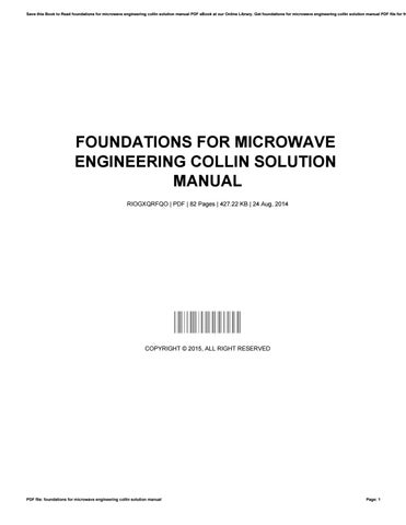 foundations for microwave engineering collin solution manual by rh issuu com solution manual principles foundation engineering 7th manual solution for foundation engineering 7th