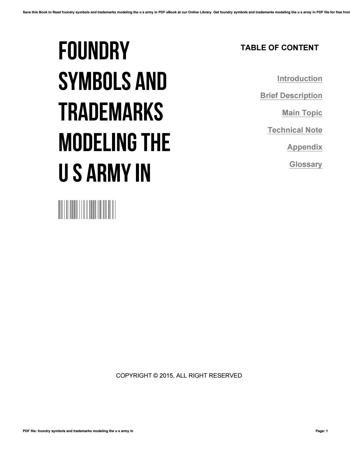 Foundry Symbols And Trademarks Modeling The U S Army In By