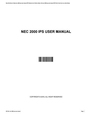 nec 2000 ips user manual by ellenwatson2918 issuu rh issuu com nec 2000 ips hardware manual nec neax 2000 ips installation manual