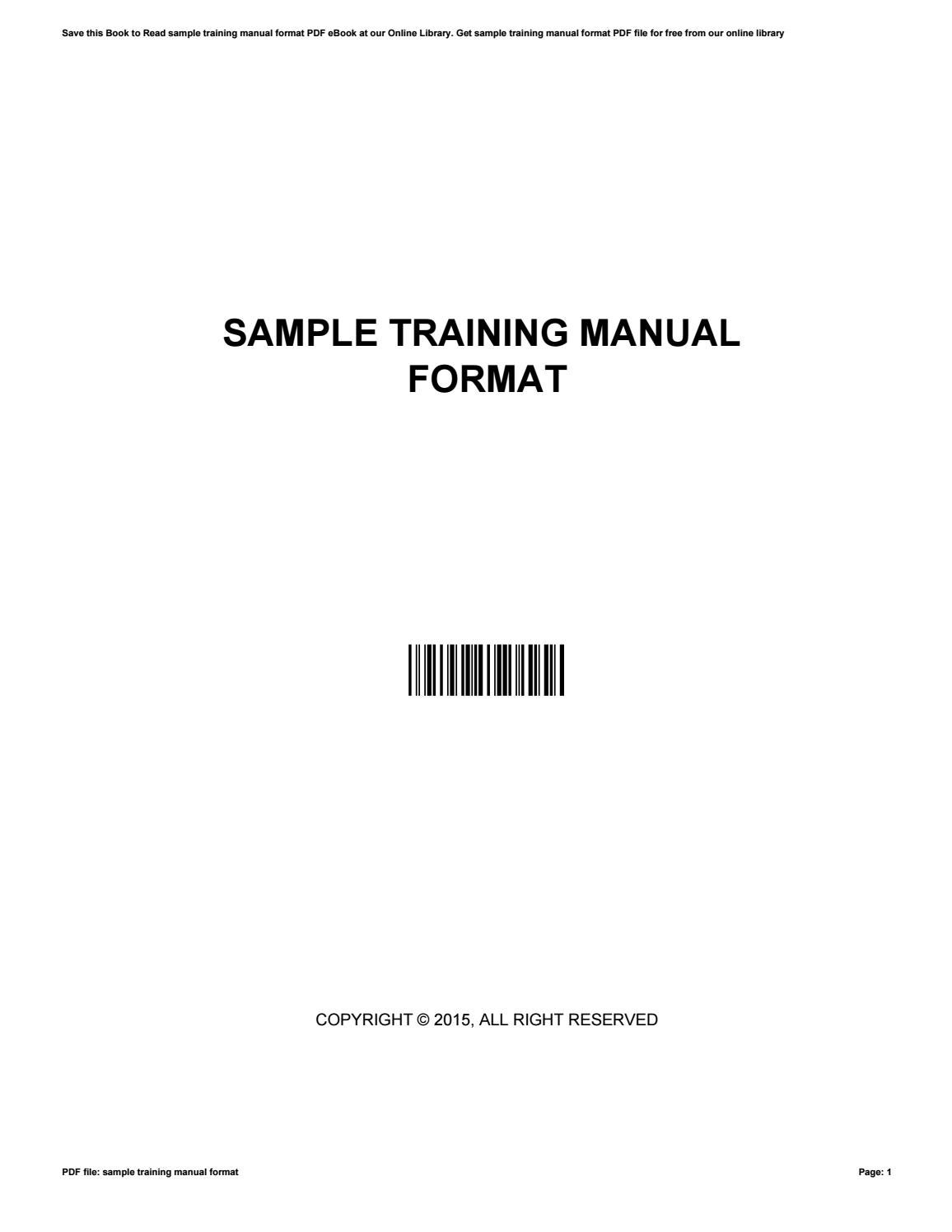 Sample Training Manual Format By Ruththomas4460 Issuu