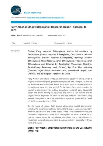 Fatty alcohol ethoxylates market 2017 share, competitor