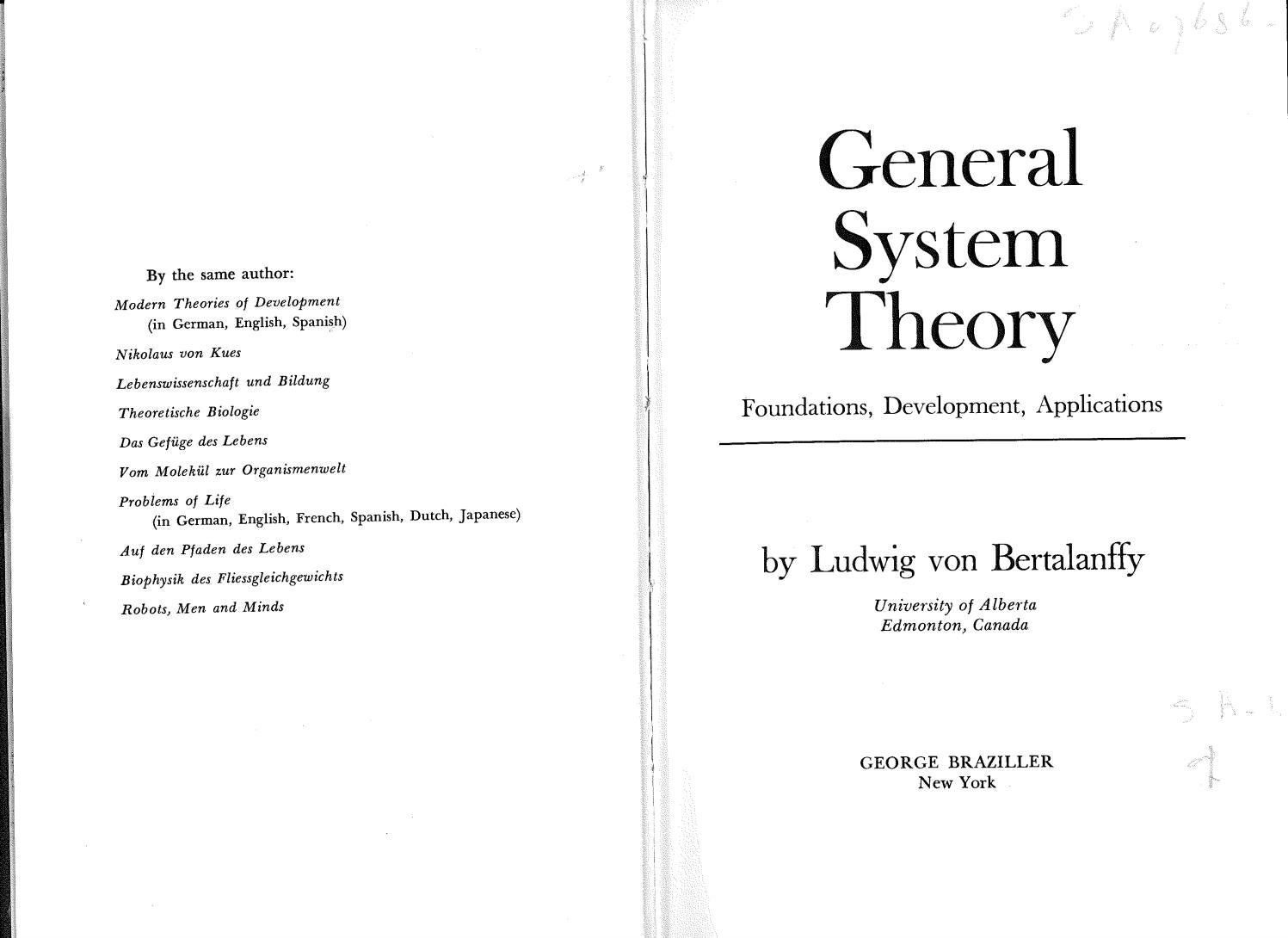 Von bertalanffy ludwig general system theory 1968 by Julio Efraín ...