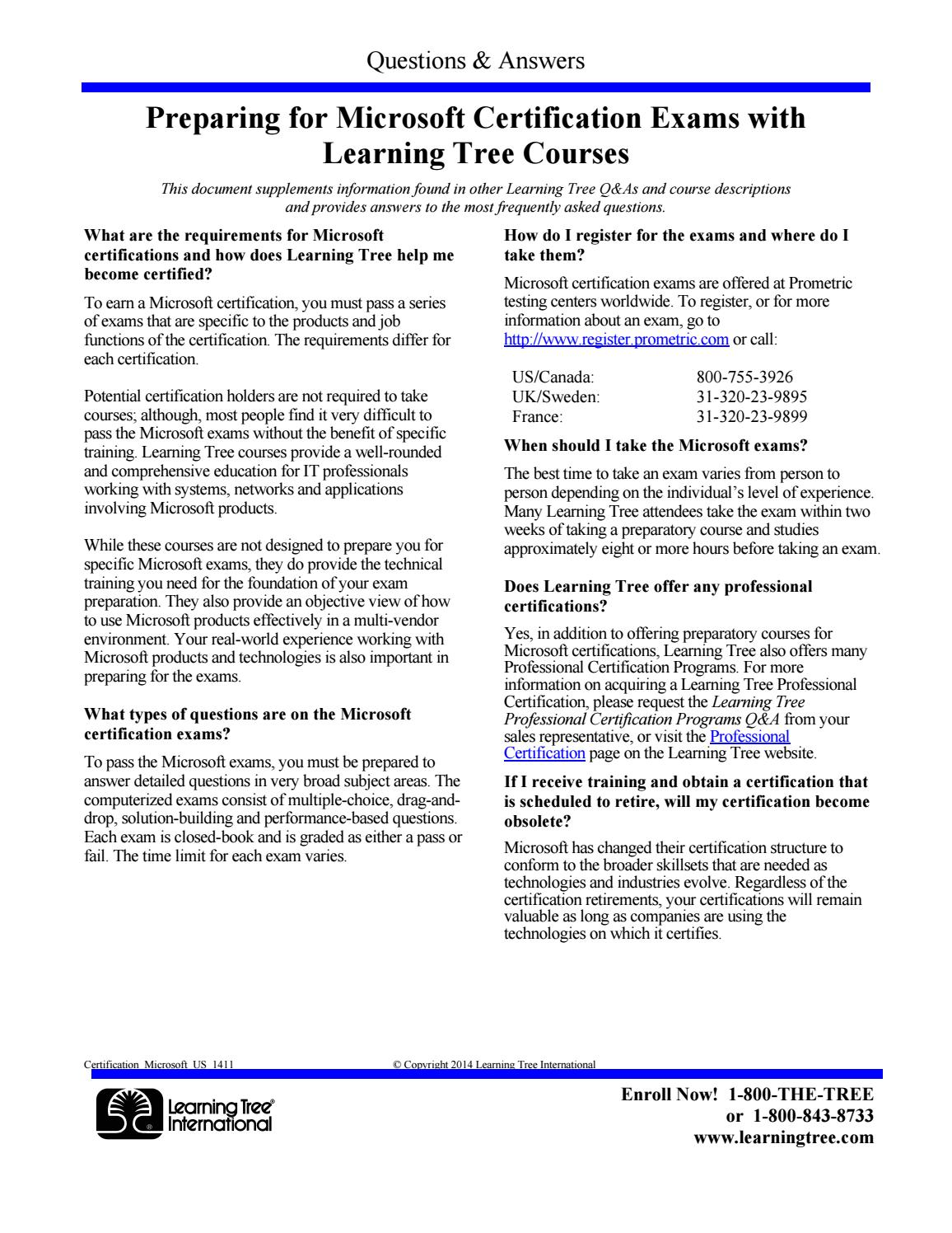 Microsoft Certification Exams Qa By Learningtree International Issuu