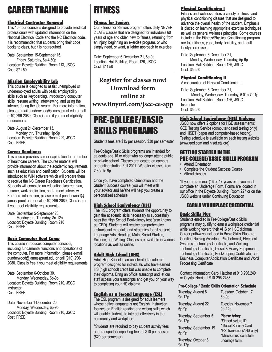 Fall 2017 Continuing Education Schedule for James Sprunt Community College