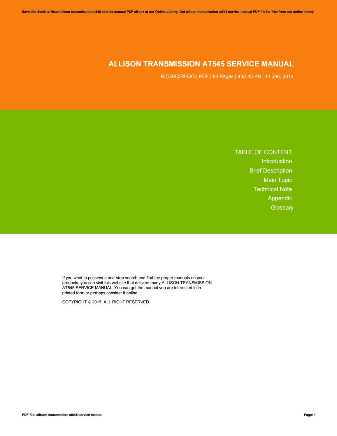 Allison Transmission Service Manual At545