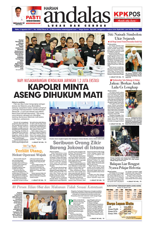 Epaper Andalas Edisi Rabu 2 Agustus 2017 By Media Andalas