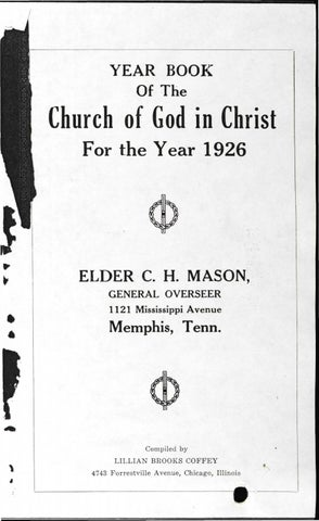 Year Book Of The Church Of God In Christ 1926 By David Brass Issuu