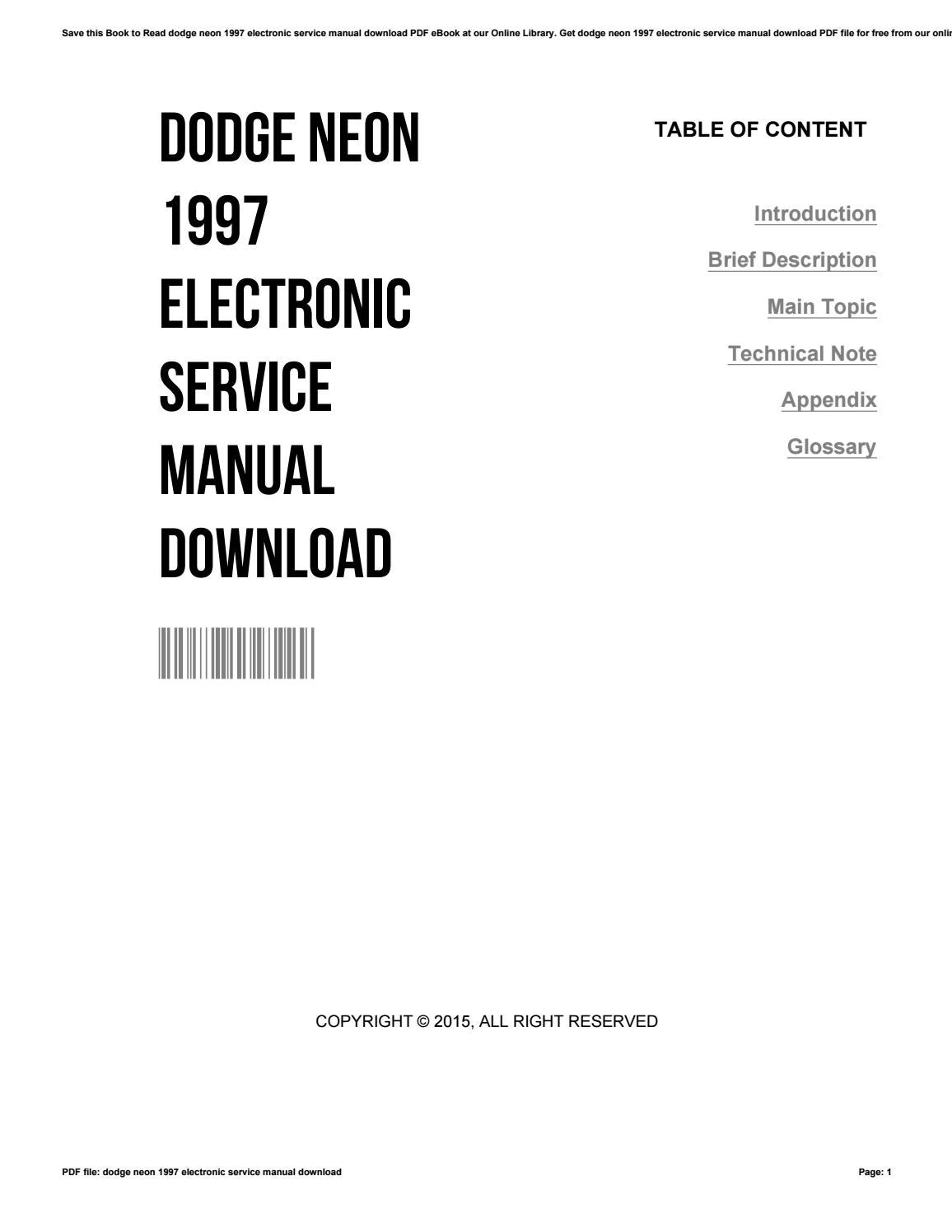 Dodge neon 1997 electronic service manual download by BradPatterson1886 -  issuu