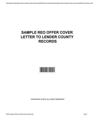 Sample reo offer cover letter to lender county records by ...