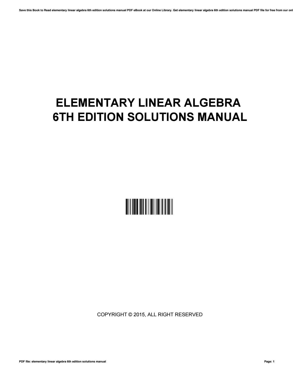 Elementary linear algebra 6th edition solutions manual by  EthelVelasquez4384 - issuu