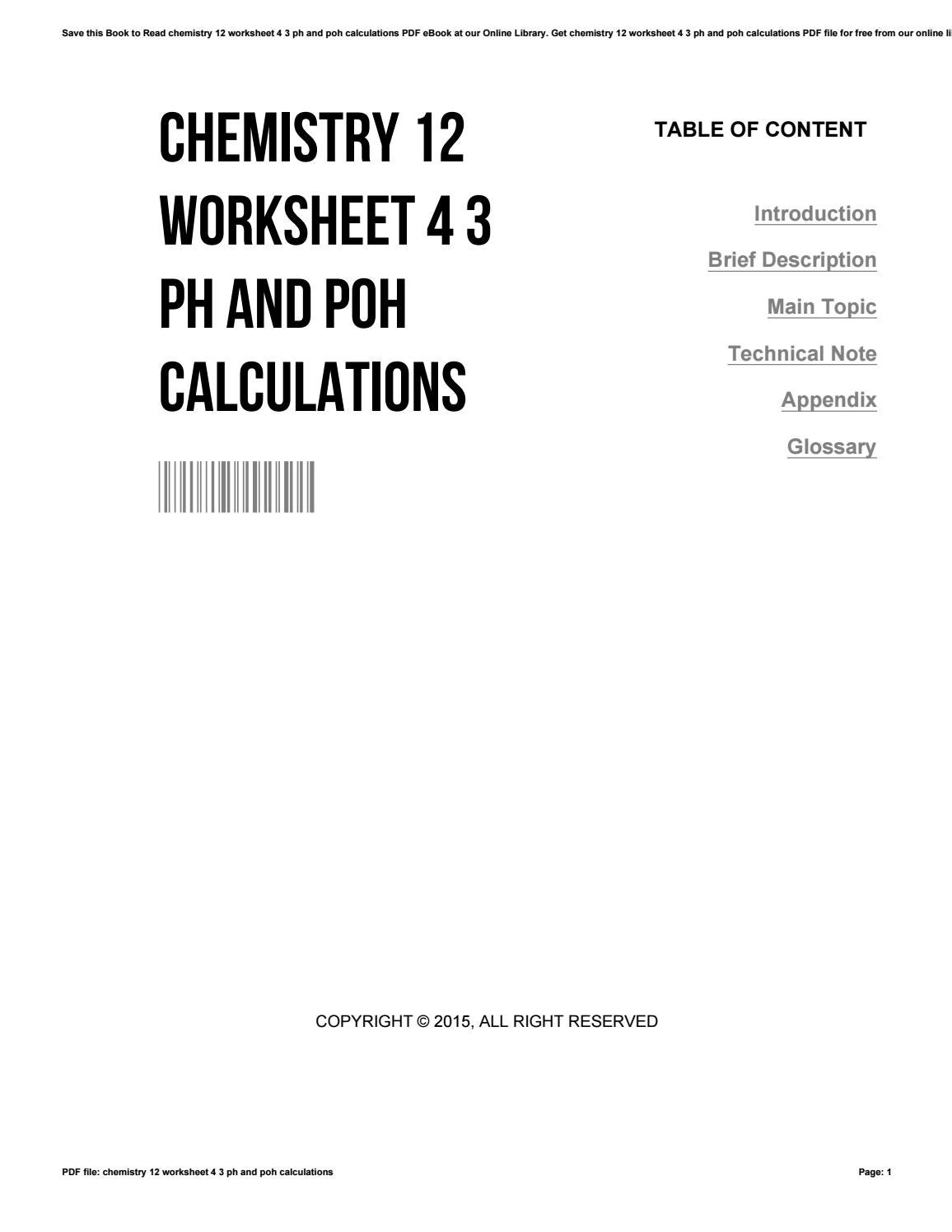 Worksheets Ph And Poh Calculations Worksheet chemistry 12 worksheet 4 3 ph and poh calculations by paulinestevenson3944 issuu