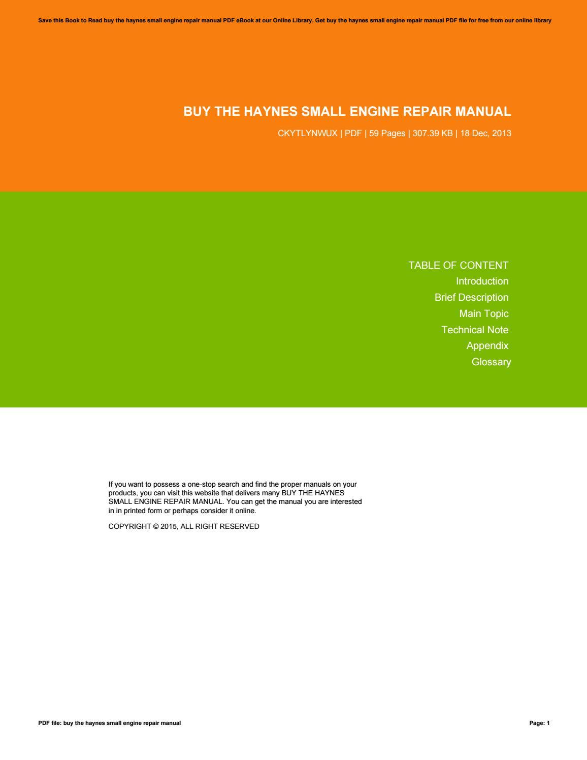 Bestseller  Small Engine Repair Manual Pdf