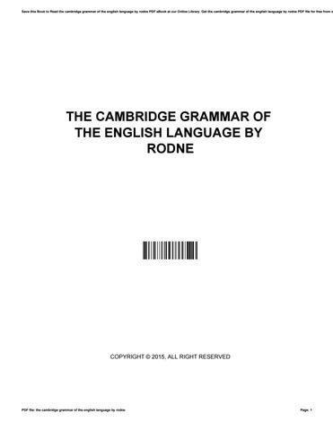 Cambridge Grammar Of The English Language Pdf