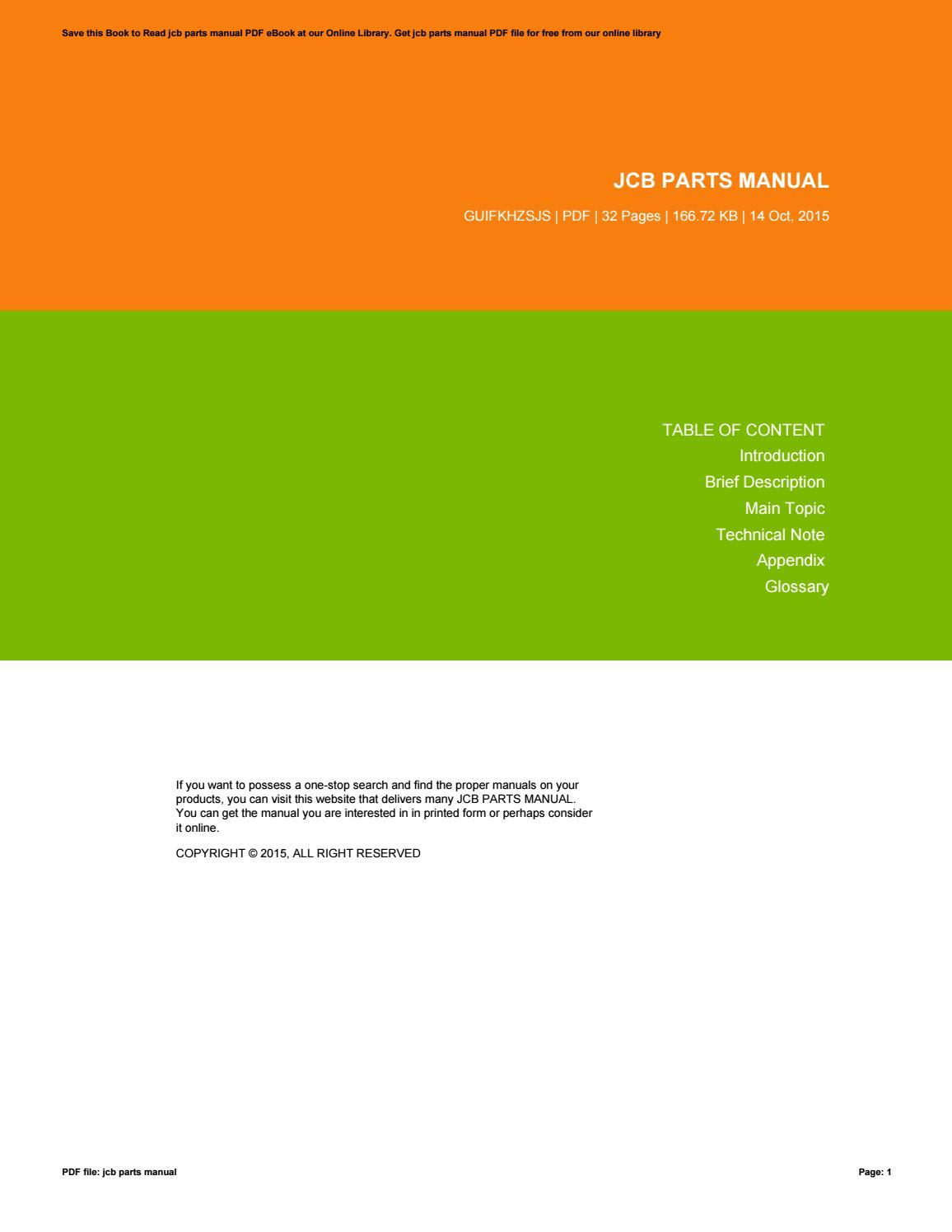 Jcb parts manual online