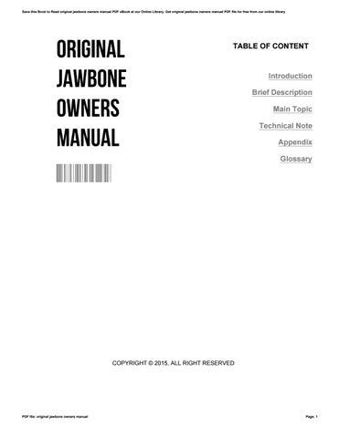 original jawbone owners manual by lisatalkington2931 issuu rh issuu com Cartoon Manual Operators Manual