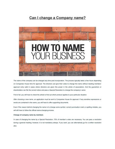 Can i change a company name by Evan Kenty at ZDK Formations ltd - issuu