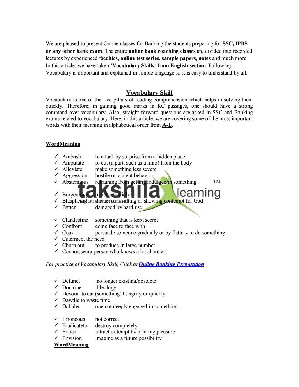 Bank PO/Clerk Exam Vocabulary Skills Preparation