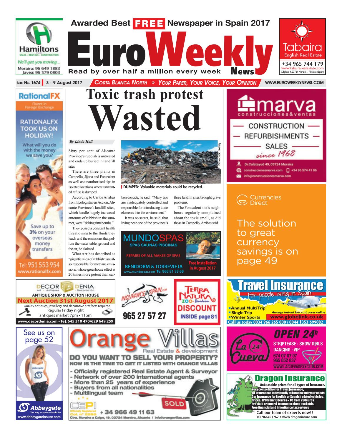 76df353b24647 Euro Weekly News - Costa Blanca North 3 – 9 August 2017 Issue 1674 by Euro  Weekly News Media S.A. - issuu