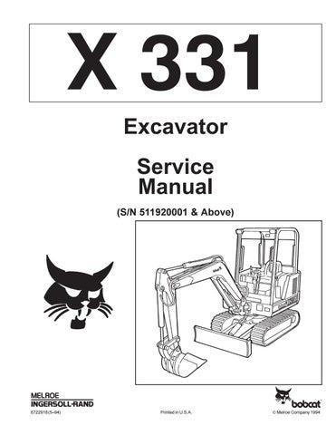 Bobcat 331 Compact Excavator Service Repair Manual Sn 511920001