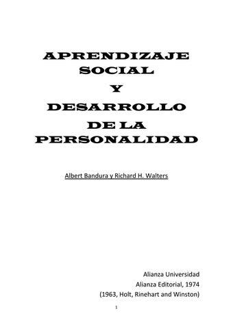 Bandura Albert Y Walters Richard Aprendizaje Social Y