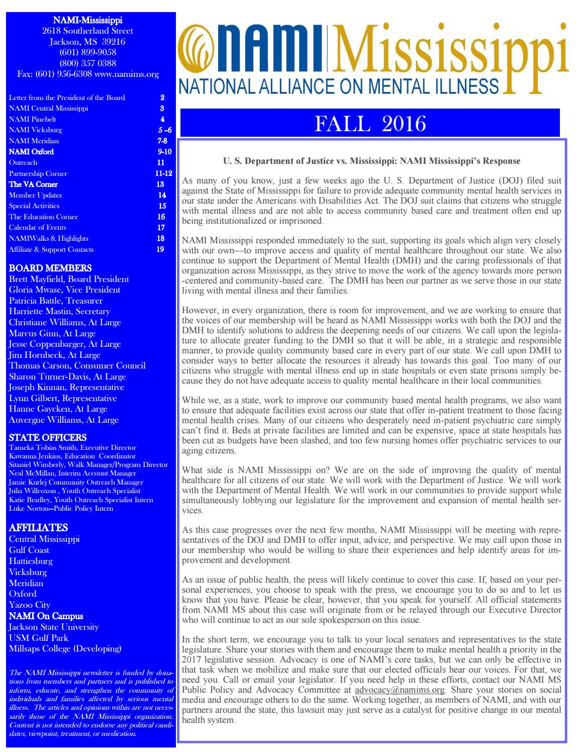 Fall 2016 Newsletter By Nami Mississippi Issuu
