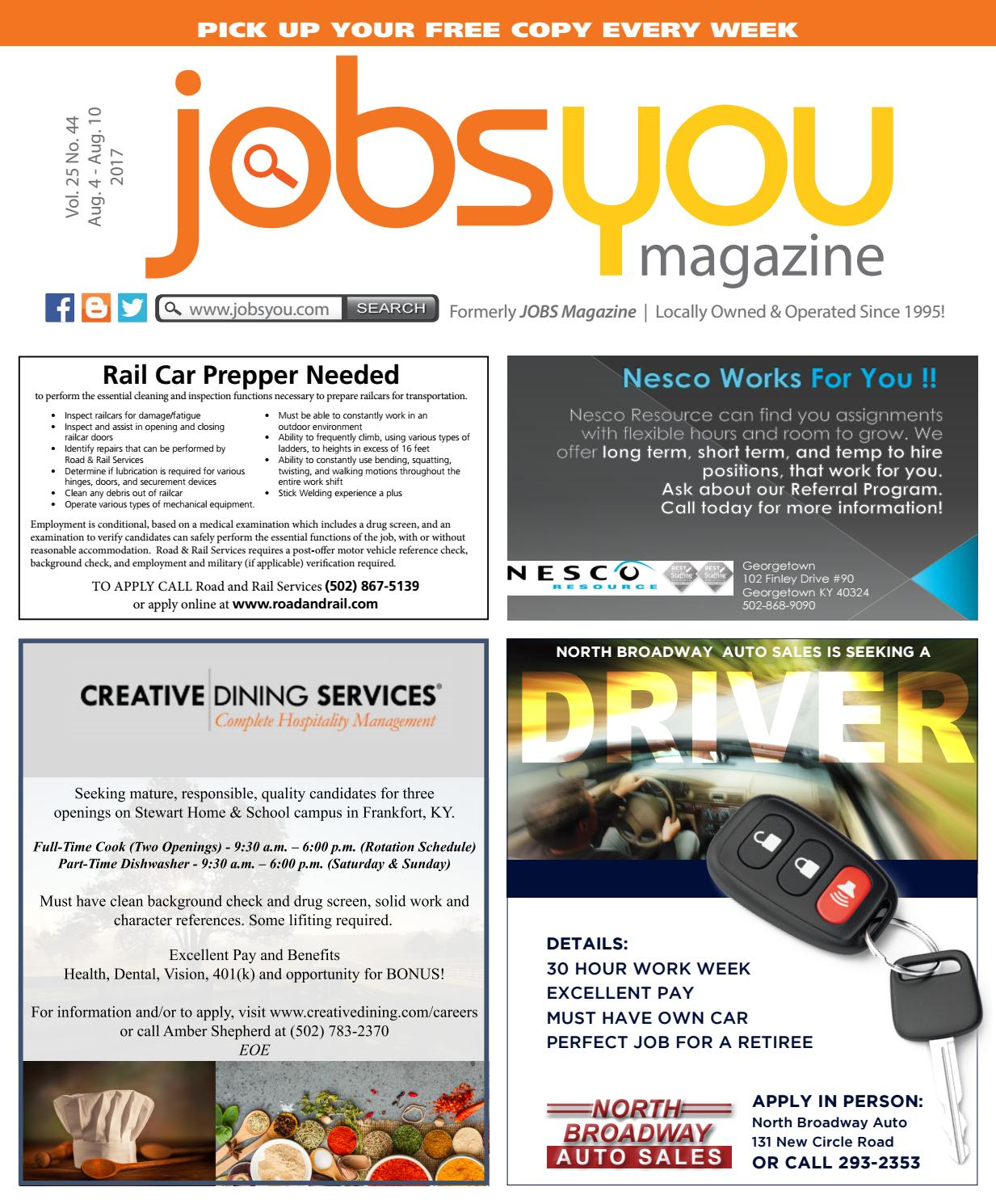 North Broadway Auto Sales >> Jobsyou August 4 10 2017 By Sampler Publications Issuu