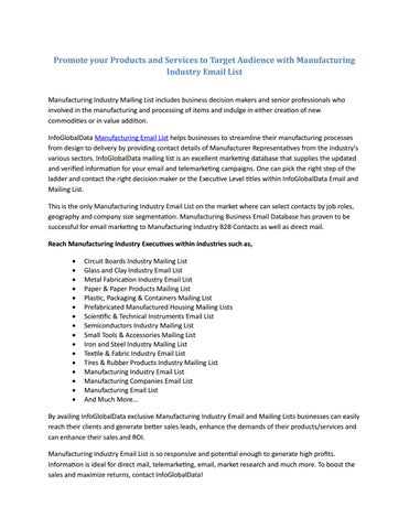 Manufacturing Email List by william - issuu