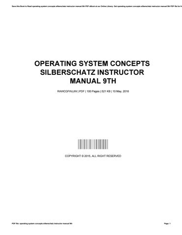 Operating System Concepts Silberschatz Instructor Manual 9th By