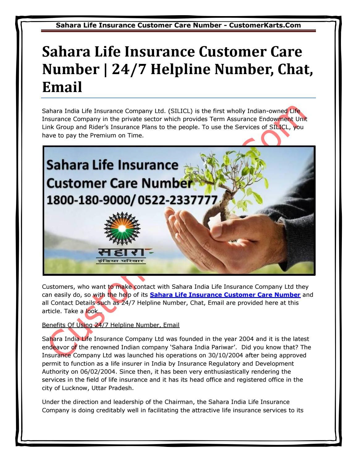 Sahara life insurance customer care number by Customer Karts