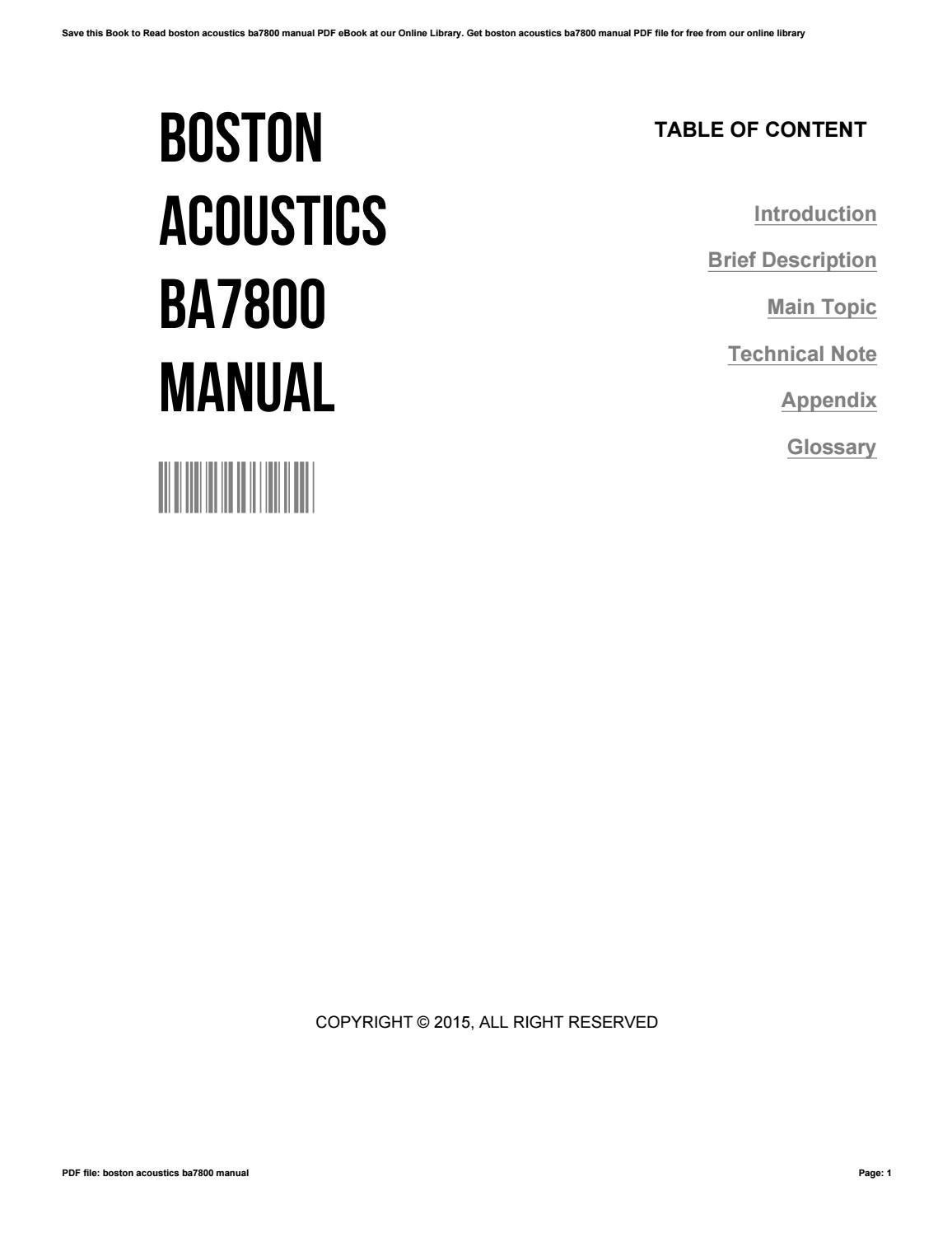 Boston Acoustics Ba7800 Manual By Roberthall4052