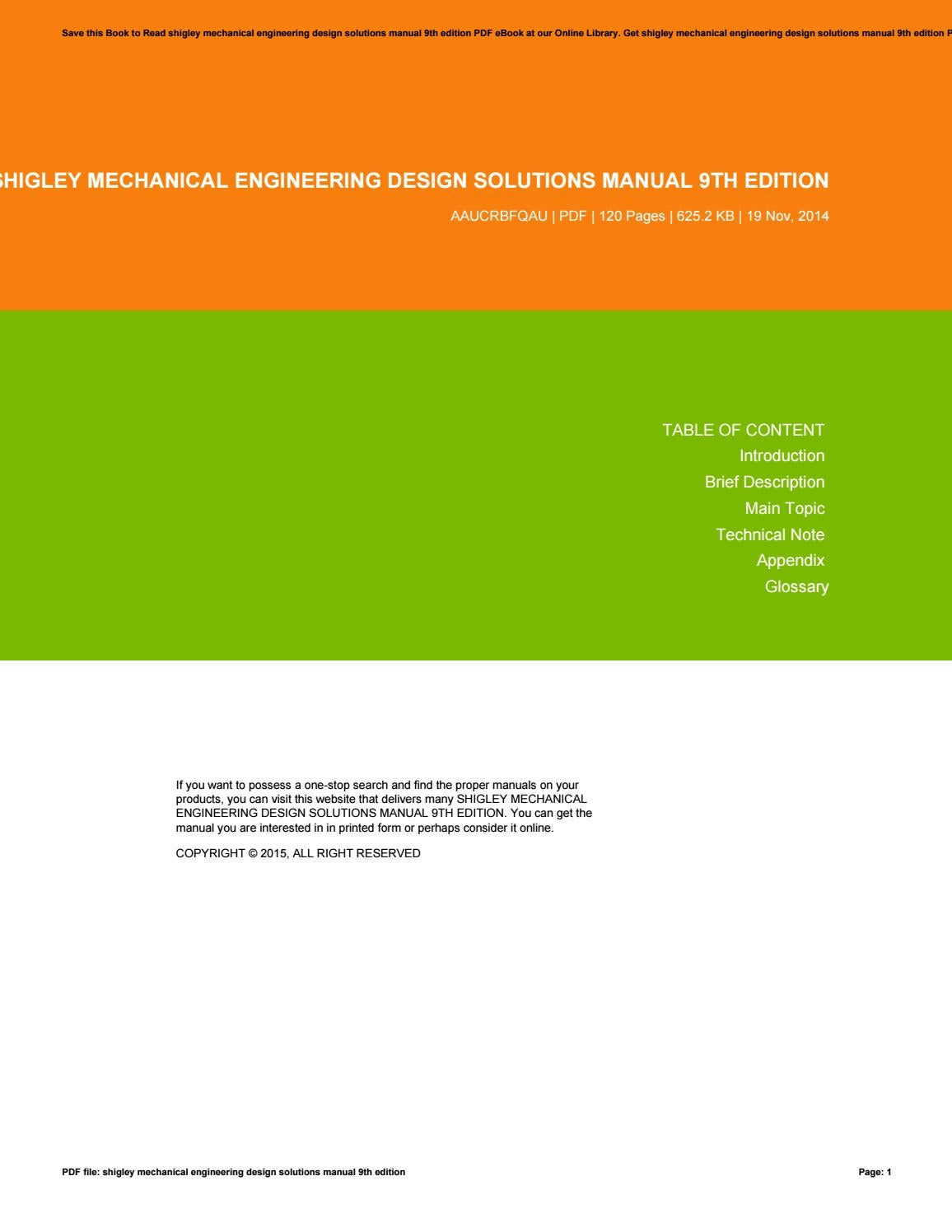 Shigley Mechanical Engineering Design Solutions Manual 9th Edition By Marshawilson2538 Issuu